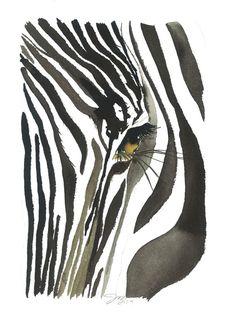 Zebra Eye print from original watercolor by JessicaIllustration, $25.00 #jessicadurrant #watercolor #zebra