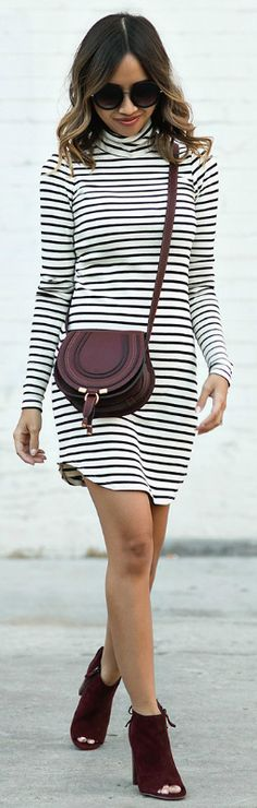 Kim Le + effortless + horizontal stripped dress + burgundy accessories + peep toes boots + great fall transition piece + Chloe bag + add layers + oversized knit scarf.  Fall Outfits + Dress: Rebecca Minkoff + Bag: Chloe + Boots: Halogen + Sunglasses: Nordstrom