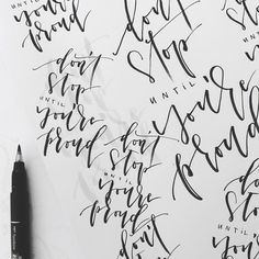 don't stop until you're proud  Lettering Tombow Fudenosuke -by eineckig.com