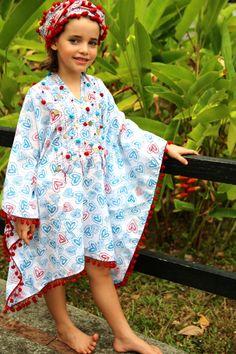 Little Girls Kaftans . 100% cotton handmade in Ladli. AT Baliza Shop