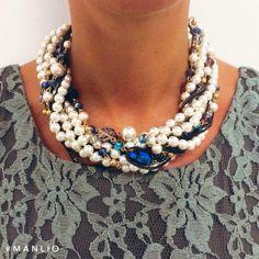 Nuova Collezione A/I 2015 Girocollo perle e cristalli  #manlioboutique  Per spedizioni: WhatsApp 329.0010906 #bijoux #jewelry #accessories