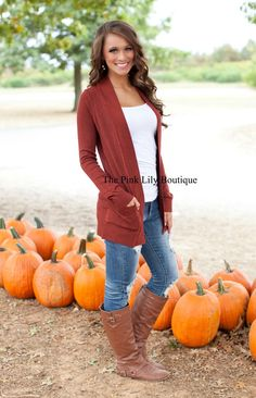 The Pink Lily Boutique - Solid Reputation Cardigan Rust , $34.00 (http://thepinklilyboutique.com/solid-reputation-cardigan-rust/)