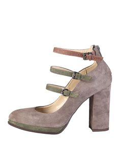 Made in italia - scarpe donna - 100% made in italy - collezione autunno-inverno - décolletées con 3 laccetti con fibbie  - Decolletè donna Grigio