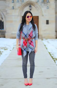 blanket scarf, gray jeans, gray sweater, grey, red pumps, red bag