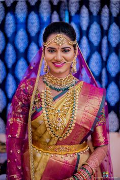 South Indian bride wearing traditional yet trendy ram parivar haram and mango necklace pachi work, real bride jewellery South Indian Bridal Jewellery, Indian Bridal Fashion, Indian Wedding Jewelry, Bridal Jewelry, Indian Jewelry Sets, Small Pearl Necklace, Gold Necklace, Necklace Set, Gold Earrings