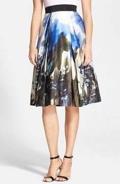 Milly 'Katie' Print Pleated Midi Skirt available at #Nordstrom