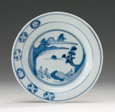 A 'KOSOMETSUKE' BLUE AND WHITE DISH TIANQI MARK AND PERIOD - Sotheby's