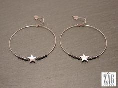 Boucles d oreilles zag anneaux etoile se2420 acier blanc
