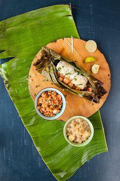Papillotes de bar, farofa aux crevettes et purée de banane - cdubeau.com