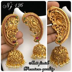 Inbox/WhatsApp 8148871715 details and order. Gold Jhumka Earrings, Indian Jewelry Earrings, Jewelry Design Earrings, Gold Earrings Designs, Gold Jewellery Design, India Jewelry, Antique Earrings, Gold Temple Jewellery, Gold Wedding Jewelry