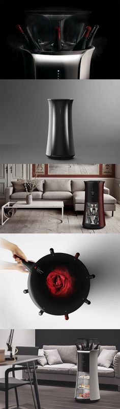 'The Butler' is a robotic wine cellar that is intelligent enough to recommend the perfect wine to you based on personal tastes, It has a biometric sensor that  works the magic, differentiating between people, and reading their biorhythm to recommend the best wine... READ MORE at Yanko Design !