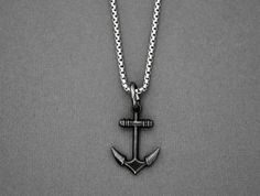 Necklace for Men, Anchor Pendant Necklace on a Stainless Steel Box Chain, Men's Jewelry, Gunmetal Anchor Necklace, Stability Strength Anchor Necklace, Men Necklace, Pendant Necklace, Valentine Gift For Wife, Valentines, Heart Keyring, Catholic Jewelry, Chains For Men, Box Chain