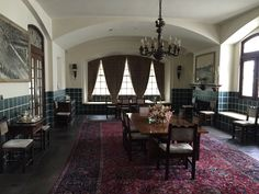 The dining room in the main house where generations of family have gathered for over 100 years. #kingranch #Texas #antique #dining #decor #historic