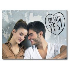 Shop Simple Love She Said Yes Save the Date Postcard created by kat_parrella. Simple Wedding Cards, Simple Wedding Invitations, Wedding Rsvp, Wedding Stationary, Simple Weddings, Wedding Ideas, Save The Date Postcards, Save The Date Cards, Modern Save The Dates