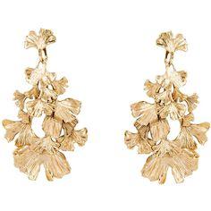 AURELIE BIDERMANN 'Tangerine' earrings (35.685 RUB) found on Polyvore featuring jewelry, earrings, accessories, clip-on earrings, long earrings, leaf jewelry, clip earrings and long clip on earrings