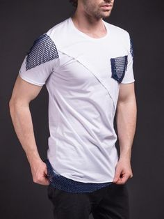 Men Asymmetrical Net Zipper T-shirt - White Mens Polo T Shirts, Tee Shirts, Shirt Collar Styles, Men's Wardrobe, Men Style Tips, My T Shirt, Casual T Shirts, Swagg, Workout Shirts