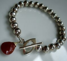 """Silver Tiffany Style Ball Bead Bracelet with Wire-Wrapped Carnelian Briolette - 7.5"""" long // sterling // on Etsy, $21.00"""