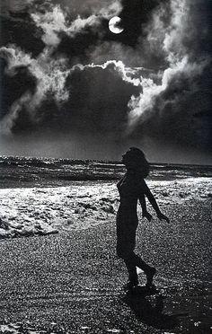 Girl walking along the Moonlit Beach Beach Walk, Beaches, Walking, Black And White, Portrait, Night, Concert, Beauty, Black N White