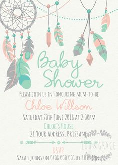 Baby Shower Invites Boho Themed Birthday Parties 52 Ideas For 2019 1st Birthday Party Invitations, 1st Birthday Parties, Printable Invitations, Shower Invitations, Baby Shower Tribal, Baby Shower Elegante, Baby Shower Invitaciones, Girl Shower, Bridal Shower