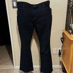 Denim and Company dark wash trouser jeans Cotton spandex blend 5 pocket trouser jeans with tummy control. Copper rivets accent the front pockets. Material is lightweight and in seam is 30.5 inches. Brand new with tags and never worn. Denim and Company Pants Boot Cut & Flare