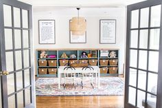 A dated, unorganized playroom gets a bright and whimsical makeover with organizational strategies, ideas for adding function, and DIY-able projects to create the perfect kid's space on a budget. Playroom Curtains, Playroom Table, Playroom Organization, Playroom Design, Playroom Decor, Home Wall Decor, Playroom Ideas, Playroom Flooring, Small Playroom