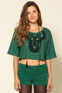 blusa cropped ilhoes verde