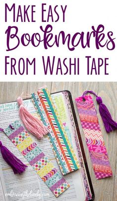 These Colorful and Easy Homemade Bookmarks Made From Washi Tape will Decorate your Bible, Faith Planner or Will Make a Lovely Gift- Embracing the Lovely bookmarks diy simple How to Make Easy and Colorful Homemade Bookmarks from Washi Tape Creative Bookmarks, Diy Bookmarks, How To Make Bookmarks, Bookmark Craft, Crochet Bookmarks, Tassel Bookmark, Bookmark Ideas, Corner Bookmarks, Washi Tape Crafts
