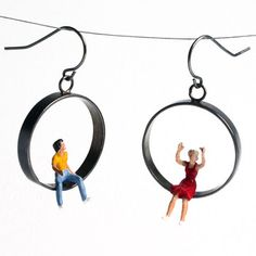 People Having Fun Earrings by Kristin Lora  (I think the title of the earrings is what makes me smile most.)