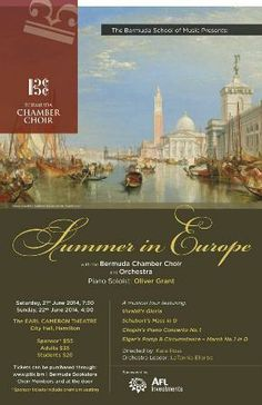 "The Bermuda Chamber Choir and Orchestra will present a ""Summer in Europe"" concert, touring the famous compositions of European classical music, featuring works from Vivaldi, Chopin, Schubert, and others. Performances are at 7.30pm on Saturday, June 21 and at 4.00pm on Sunday, June 22 at the Earl Cameron Theatre, City Hall, Hamilton. Tickets begin at $20 online at www.ptix.bm or in person at Bermuda Bookstore in Hamilton, directly through choir members, and at the door."