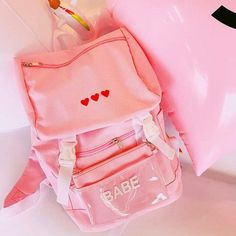 Harajuku Red Heart Backpack with Purse
