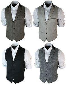 Mens Vintage Tweed Waistcoat Herringbone Brown Cream Black Grey Slim Fit