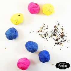 Quick and easy steps to make your own colorful seed bombs to throw and grow wild flowers. Great Earth Day crafts for kids and wedding favors.