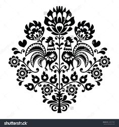 stock-vector-polish-folk-art-black-pattern-on-white-with-flowers-and-roosters-224077087.jpg (1500×1600)