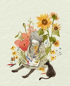 Find images and videos about girl, cat and wallpaper on We Heart It - the app to get lost in what you love. Adorable Petite Fille, Type Illustration, Korean Artist, Whimsical Art, Pretty Pictures, Cat Art, Painting & Drawing, Illustrators, Art Drawings