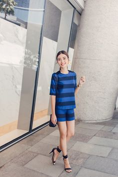 Get this look: http://lb.nu/look/7713020  More looks by Tricia Gosingtian: http://lb.nu/tgosingtian  Items in this look:  Mango Striped Cotton Blouse, Mango Cotton Striped Shorts, Mango Heels, Marc By Marc Jacobs Bag   #casual #chic #classic
