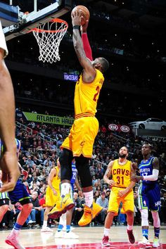 LeBron James #23 of the Cleveland Cavaliers dunks the ball during the game against the Atlanta Hawks on March 3, 2017 at Philips Arena in Atlanta, Georgia.