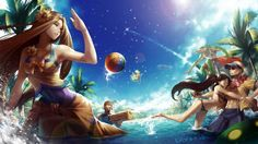 League of Legends Pool Party Leona Graves Lee Sin Nidalee Renekton Ziggs 1920x1080