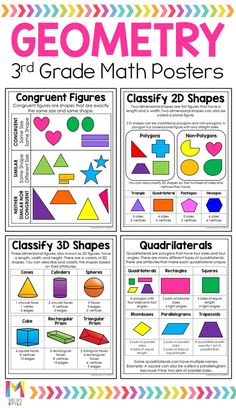 Help your third grade students learn all about geometry with these math posters. These student friendly anchor charts are the perfect fit for math interactive notebooks and will save you tons of time prepping for your math lessons. Student Learning, Teaching Math, Teaching Geometry, Math Worksheets, Math Activities, Math Games, Math Poster, Third Grade Math, Sixth Grade