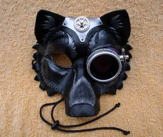 Cog-Monocle Industrial Wolf Leather Mask... handmade mixed media leather steampunk wolf mask. $170.00, via Etsy.