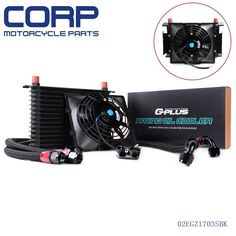 """76.69$  Watch here - http://ali9l9.worldwells.pw/go.php?t=32714929021 - """"Universal 15 Row Engine Transmission 10AN Aluminum Oil Cooler+ 7"""""""" Electric Fan"""" 76.69$"""