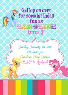 My Little Pony Birthday Invite. $10.00, via Etsy.