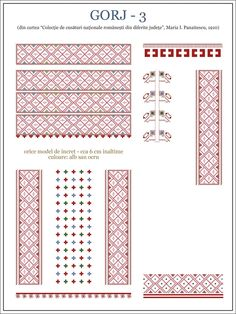 Semne Cusute: OLTENIA - model de ie din Gorj Folk Embroidery, Learn Embroidery, Embroidery Patterns, Machine Embroidery, Knitting Patterns, Cross Stitch Borders, Cross Stitch Patterns, Palestinian Embroidery, Antique Quilts