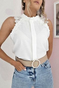 Oh Hello Clothing, Pearl White, Lace Detail, Off White, Shoulder, Blouse, Fabric, Model, How To Wear