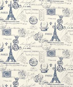 Premier Prints French Stamp Sunshine/Navy Natural Fabric