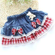 Девушки джинсовой юбки плед кружева с бантом медведь плиссированные юбки симпатичная девочка лето осень детская одежда детской одежды для 4 - 10 т джинсовые летние девушки юбки(China (Mainland))