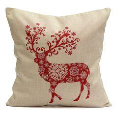 Christmas Elk Deer Cotton Linen Throw Pillow Case Cushion Cover Home Decor, xiaomi mijia lamp, led decorative lights, room decor lights christmas decorating, christmas things, crafts christmas diy #christmas #christmasideas #christmaswreath, back to school, aesthetic wallpaper, y2k fashion Christmas Cushion Covers, Christmas Cushions, Decorative Pillow Covers, Decorative Throw Pillows, Deer Pillow, Cushion Cover Designs, Textiles, Throw Pillow Cases, Cotton Linen