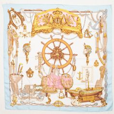 Hermes Scarf In Light Blue A