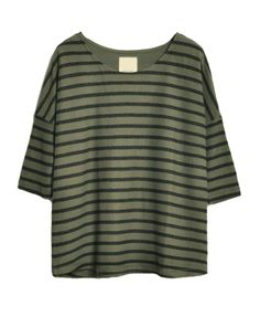 Seven Sleeves Striped Round Neckline Sweatshirt