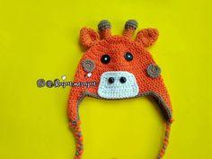 Crochet giraffe baby earflap hat 6-12mo.