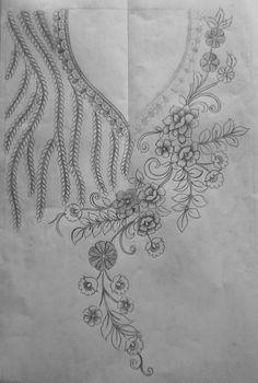 Embroidery On Kurtis, Kurti Embroidery Design, Embroidery Neck Designs, Floral Embroidery Patterns, Hand Embroidery Patterns, Ribbon Embroidery, Fabric Patterns, Embroidery Stitches, Motifs Perler